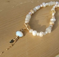 Fairy Princess necklace moonstone pearls shells