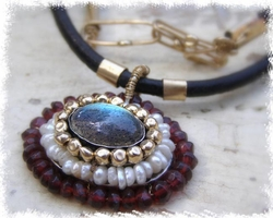 Fashion Leather string, Gold filled and Silver pendant set with big Labradorite, Garnet , Pearls