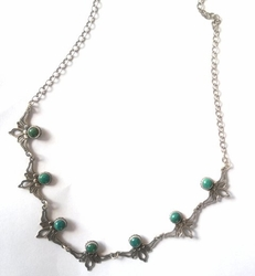 Filigree Eilat stones israeli silver necklace. Sterling silver jewelry with Eilat stones