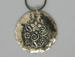 Floral boho silver necklace. Handcrafted in israel