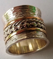 Floral designer meditation ring silver and gold