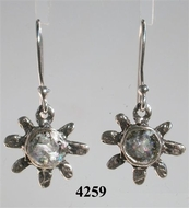 Floral silver dangling earrings with roman glass