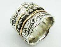 Floral silver gold ring Bluenoemi spinner ring handcrafted in Israel
