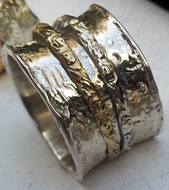 Rings Floral spinner ring silver & gold