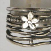 Floral  sterling silver ring boho design