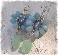 Flower labradorite earrings. Designer chic earrings