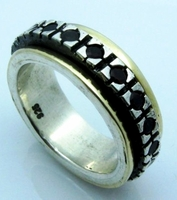 Garnets silver gold spinner ring