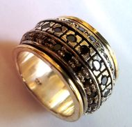 Garnets silver gold spinning ring garnets bague tube argent or