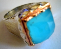 Gemstone ring silver and gold blue ocean
