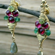 Gemstones and zircons earrings dangle earrings aventurine peridot video boucles d'orreilles aritos pendientes