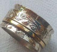 Ring silver gold floral romantic designer jewelry