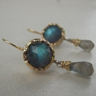 Gemstones earrings Blue Labradorite Dangle Earringsv 9K  Gold