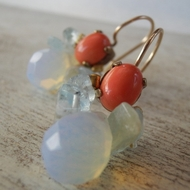 Gemstones earrings | coral | opalite | aquamarine