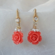 Gemstones earrings | coral pearls earrings