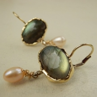 Gemstones earrings | labradorite gold earrings
