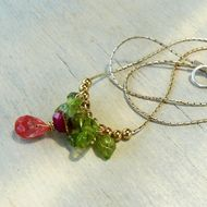Necklace peridot cherry quartz & Ruby