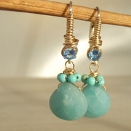 Gemstones turquoise blue-green earrings