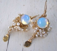 Goddess Opalit earrings crochet pearls FREE SHIPPING