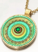 Gold plated pendant assorted turquoise colors Israeli