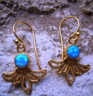 Gold plated sterling silver opal dangle earrings