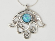 Hamsa opal necklace Silver jewelry