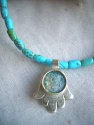 Hamsa turquoise silver necklace / bat mitzva