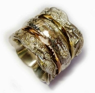 Handcrafted spinner ring sterling silver & gold 9 carat Meditation Ring
