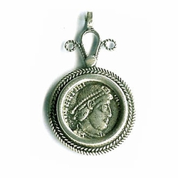 Handmade 925 silver pendant with antique Roman coin Israeli necklace