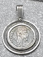 Handmade 925 sterling silver Roman coin pendant Israeli jewelry