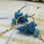 Handmade gipsy earrings Blue Apatite stones