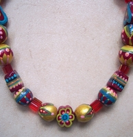 Handpainted artistic beads necklace from Nahalat Binyamin