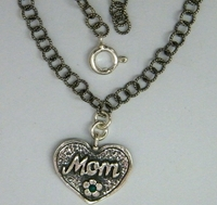 Heart love mom silver necklace handcrafted Israeli jewelry