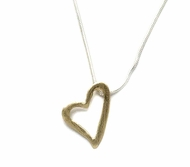 Heart necklace silver and gold filled