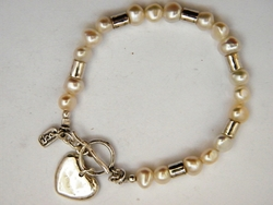 Heart pearls sterling silver bracelet. Handcrafted in Israel