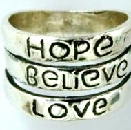 Inspirational jewelry | ring | Hope Believe Love