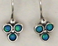 Israeli blue opal silver earrings dangle jewelry