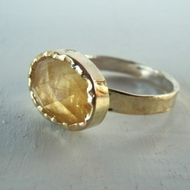 Israeli citrine ring silver gold gemstone ring