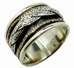 Israeli classic 3 tone ring silver gold spinner ring about 1.6 cm