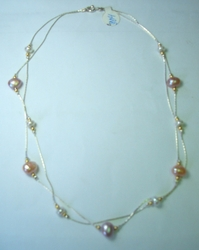 Israeli cultured pearls silver necklace