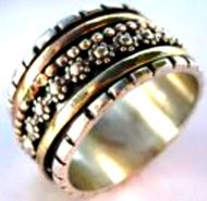 Israeli Rings Designer Silver Gold Spinning Ring