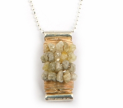 Israeli designer necklace 925 silver and 9 KT gold necklace rough diamonds