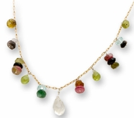 Israeli designer necklace tourmaline stones