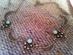 Israeli filigree necklace ethnic silver , opal Yemenite design