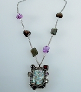 Roman glass jewelry semi precious stones necklace