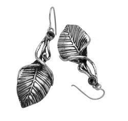 Israeli jewelry Leaf designer earrings sterling silver