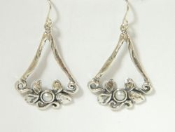 Israeli silver earrings set with a pearl