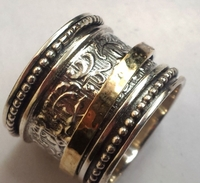 Israeli jewelry spinner ring silver gold rings