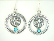 Israeli jewelry sterling silver earrings gothic design with stone