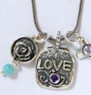 Silver necklace Love and cross set with amethyst and CZ zircon