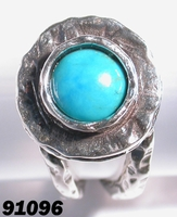 Israeli jewelry artistic sterling silver & turquoise ring